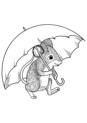 Ausmalbilder Kleine Maus Grosser Schirm Mäuse Malvorlagen