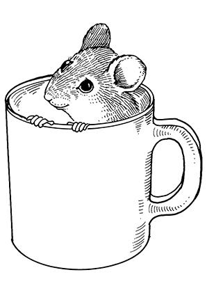 Tasse ausmalbild  Ausmalbilder Maus in einer Tasse - Mäuse Malvorlagen