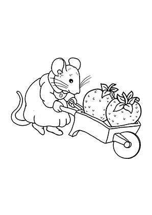 ausmalbilder maus und erdbeeren - mäuse malvorlagen