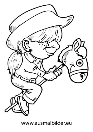 Ausmalbilder Cowboy Kind Mit Steckenpferd Pferde Malvorlagen