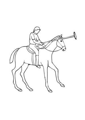 ausmalbild pferd beim polo zum ausdrucken