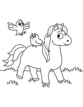 ausmalbild pferd mit 2 vögeln zum ausdrucken