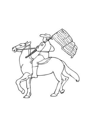 Ausmalbild Pferd mit Amerikaner kostenlos ausdrucken