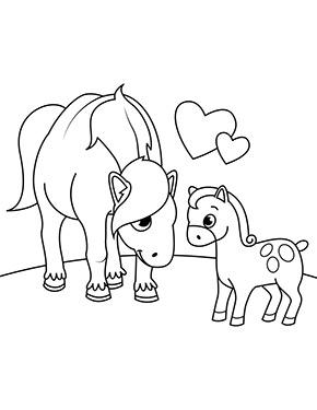 Ausmalbild Pferd Mit Fohlen Zum Ausdrucken