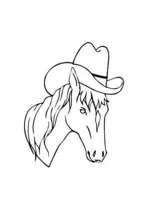 ausmalbild pferd mit hut zum ausdrucken