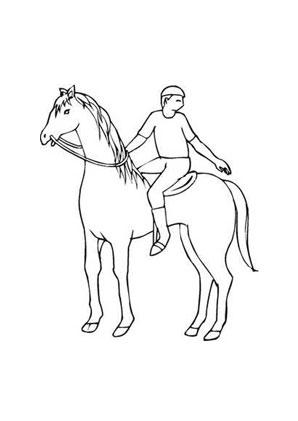 Ausmalbild Pferd mit jungem Reiter kostenlos ausdrucken