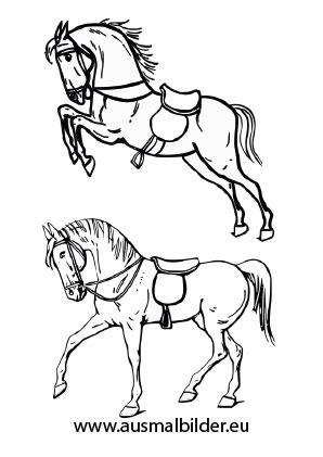 Ausmalbilder Pferde Mit S 228 Ttel Pferde Malvorlagen