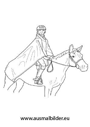 Ausmalbilder Reiterin Mit Ausrüstung Pferde Malvorlagen