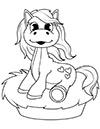 Ausmalbild Pferd mit Herzchen