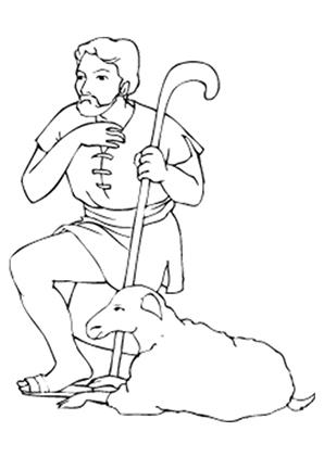 Ausmalbilder Schaf und Hirte - Schafe Malvorlagen