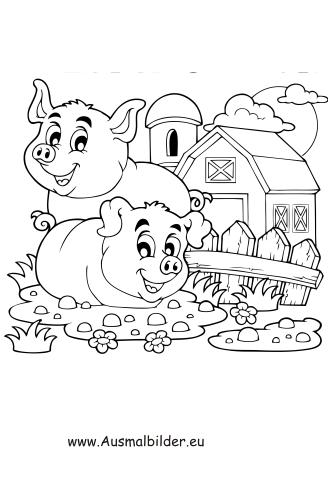Ausmalbilder Glückliche Schweine auf dem Bauernhof - Schweine ...