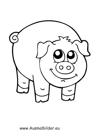 Ausmalbilder Gluckliches Schwein Schweine Malvorlagen