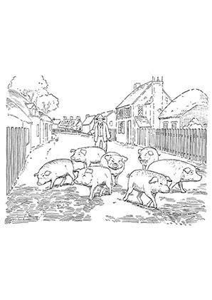ausmalbild schweine im dorf zum ausdrucken