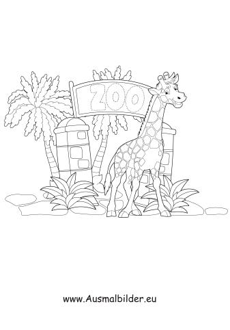 ausmalbild giraffe im zoo zum ausdrucken
