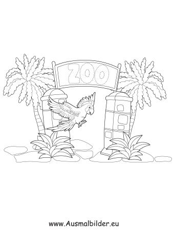 ausmalbilder papagei im zoo - zoo malvorlagen