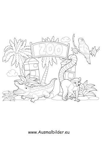 ausmalbild tiere im zoo zum ausdrucken