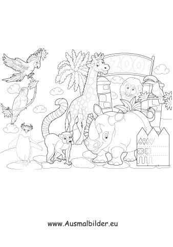 ausmalbild zoo mit tieren zum ausdrucken