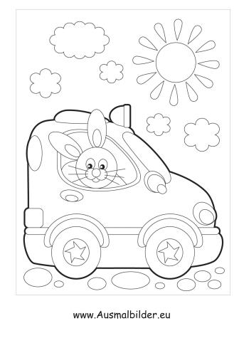 Ausmalbilder Hase Im Auto Transport Malvorlagen