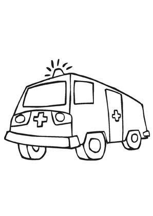 ausmalbilder krankenwagen mit blaulicht - transport malvorlagen