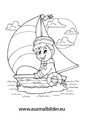 Ausmalbild Bootfahren
