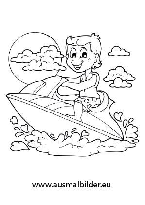 Sonnenschirm malvorlage  Ausmalbilder Kind beim Jetski fahren - Urlaub Malvorlagen
