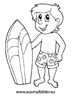 Ausmalbilder Kind mit Surfbrett - Urlaub Malvorlagen