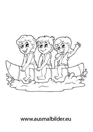 Kinder schwimmen ausmalbild  Ausmalbilder Kinder auf einem Banana Boat - Urlaub Malvorlagen