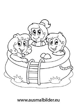 Kinder schwimmen ausmalbild  Ausmalbilder Planschbecken - Urlaub Malvorlagen