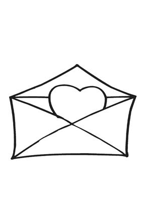 ausmalbilder brief mit herz - valentinstag ausmalbilder ausmalen