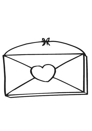 ausmalbilder briefumschlag mit herz - valentinstag ausmalbilder ausmalen