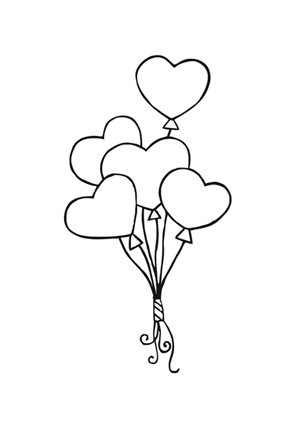 Ausmalbild Luftballon Herzen kostenlos ausdrucken