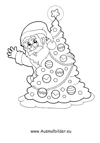 ausmalbilder nikolaus mit weihnachtsbaum - nikolaus malvorlagen