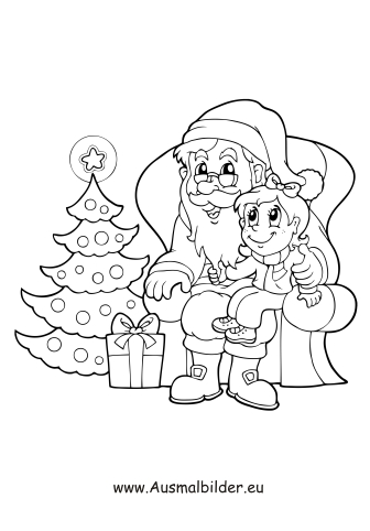 ausmalbilder nikolaus sitzt am weihnachtsbaum - nikolaus malvorlagen