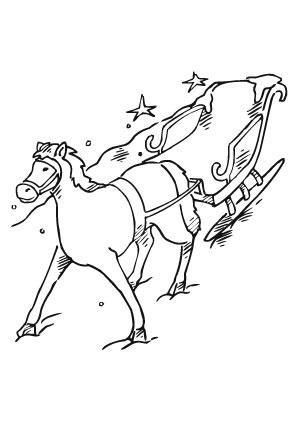 Ausmalbilder Pferd zieht Nikolausschlitten   Nikolausschlitten