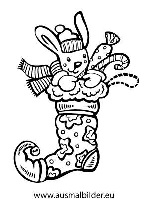 ausmalbilder nikolausstrümpfe | teddy im nikolausstrumpf