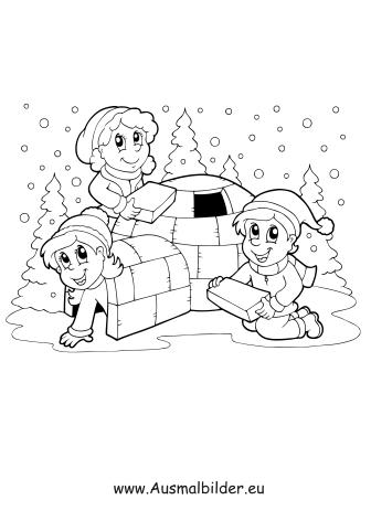 ausmalbilder iglu im schnee - schneeflocken malvorlagen