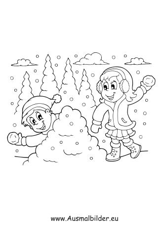 Ausmalbilder Schneeflocken Kinder Spielen Im Schnee