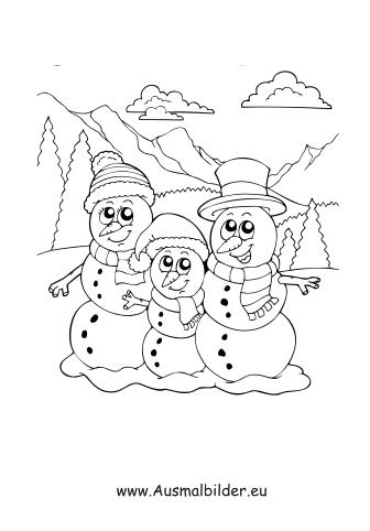 Ausmalbilder Familie Schneemann - Schneemann Malvorlagen