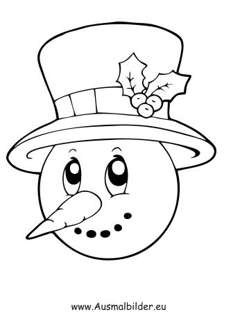 Ausmalbilder Gesicht vom Schneemann - Schneemann Malvorlagen