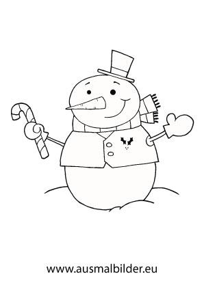 Ausmalbilder Schneemann mit einer Zuckerstange - Schneemann Malvorlagen