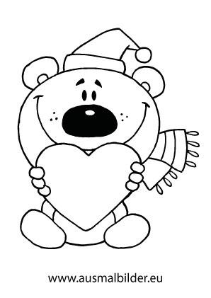 Ausmalbilder Weihnachtsbär mit Herz - Weihnachtsbären Malvorlagen