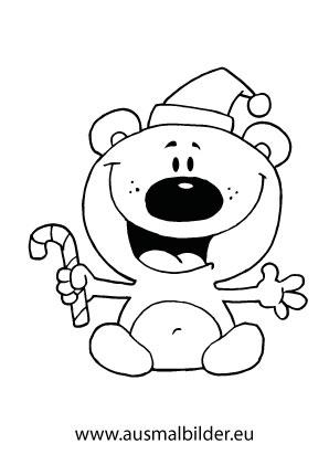Ausmalbilder Weihnachtsbär mit Zuckerstange - Weihnachtsbären ...