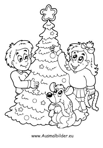 Ausmalbilder Christbaum schmücken - Weihnachtsbäume Malvorlagen