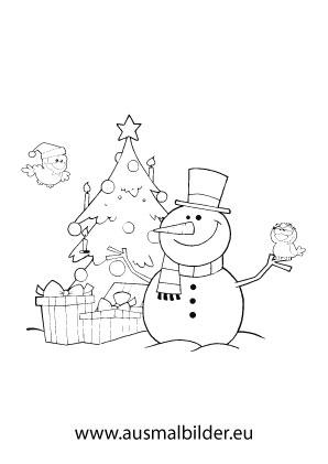 ausmalbilder schneemann mit christbaum - weihnachtsbäume malvorlagen