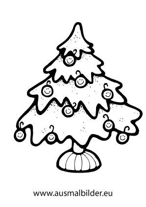 ausmalbilder weihnachtsbaum mit smiley kugeln. Black Bedroom Furniture Sets. Home Design Ideas