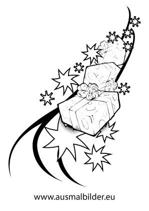 ausmalbilder fliegende weihnachtsgeschenke. Black Bedroom Furniture Sets. Home Design Ideas