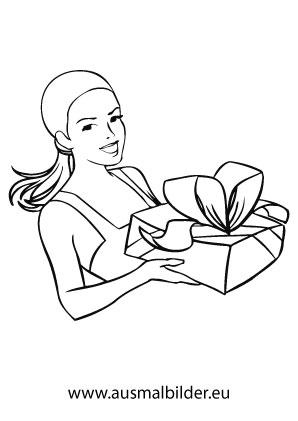 ausmalbilder mutter mit geschenk weihnachtsgeschenke. Black Bedroom Furniture Sets. Home Design Ideas