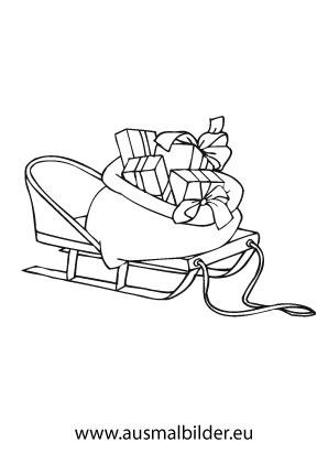 ausmalbilder schlitten mit geschenken. Black Bedroom Furniture Sets. Home Design Ideas