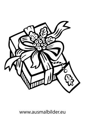 ausmalbilder sch n eingepacktes weihnachtsgeschenk. Black Bedroom Furniture Sets. Home Design Ideas