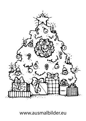 ausmalbilder weihnachtsgeschenke   weihnachtsbaum mit geschenken